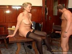 Cocksucker in stockings laid in the mature pussy