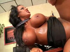 Black haired office lady Kerry Louise knows that her massive