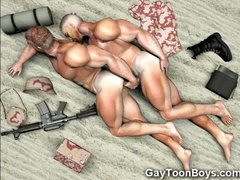 3D Muscled Gay Soldiers!