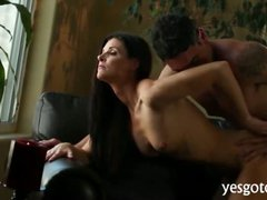Sexy milf India Summer cock rides n doggystyle on the couch