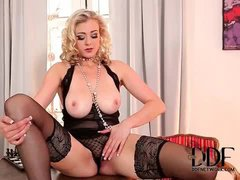 Flawlessly glamorous blonde in black lingerie