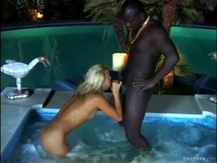 Hot tub interracial hardcore with a black cock