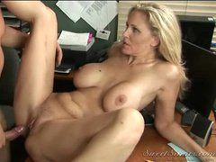Milf girlfriend in his office taking cock