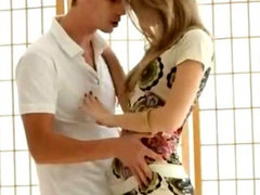 Petite teen Anjelica pussy drilled deep on a white carpet