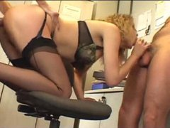 Curly hair hottie fucked hard in the office