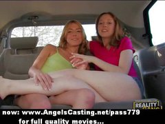 Lesbian girls flashing tits in a car