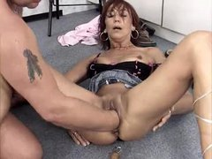 He fucks the bitch and fists her hard