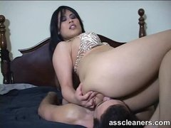 Tasty babe with big ass sits on his face