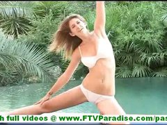 Karina innocent young blonde girl with natural tits exercising and undressing and swimming naked