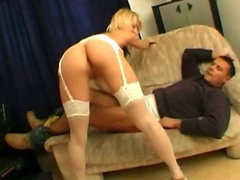 Blonde Dutch babe Dressed In White Lingerie Fucks Hard