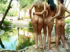 Three unique babes undress naked