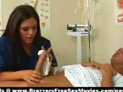 Super sexy busty doctor babe teating pacients