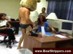 Male stripper show at an office