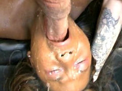 Dirty Black Ghetto Slut Covered In Her Own Puke