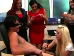 Blonde office cfnm skank gets a mouthful