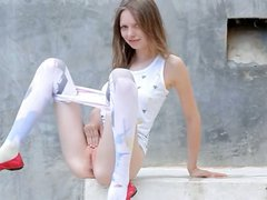 Beautiful shower from thin banging doll
