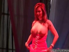 Busty blonde whore goes crazy stripping