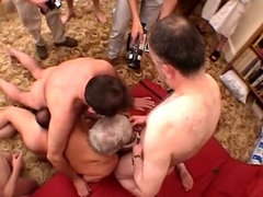 Blonde nurse has group sex with grandpas