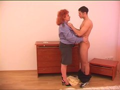Mature redhead with saggy tits getting fucked