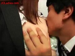 Office Lady Fingered Form Behind Giving Blowjob For...