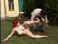pale redhead pawg serena fucks outdoors