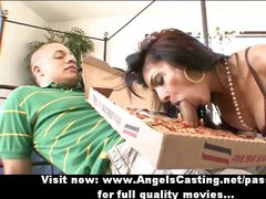 Amazing brunette milf does blowjob and rides cock for pizza guy
