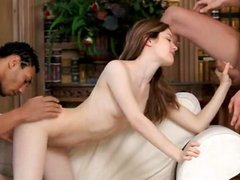 Hot MMF threesome with neat babe