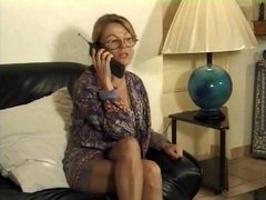 Milf in Pantyhose and Glasses Sucks and Fucks