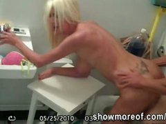 Lucky peeping tom caught a blonde gf fucking with her lover inside the bathroom