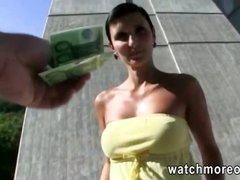 Busty euro sweetie rides sucks and rides cock in public in need for some cash