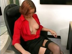 Office skank gets undressed and proceeds to masturbate at her desk