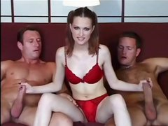 Three dudes make this little brunette their fuck toy in foursome