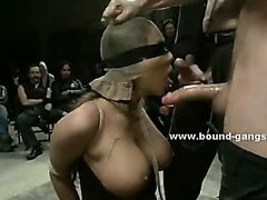 Rough men use sluts to please themselves taking down holes in bondage gangbang sex and deepthroat