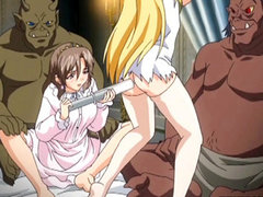 Princess hentai gets injection with an enema and monster fucked