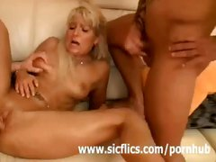 Rejuvenating whore with a raunchy face flower gets double teamed