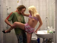 Blonde fucked in bathroom