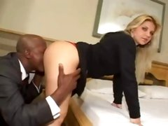 Blonde babe with a nice ass gets a big black dick banging her