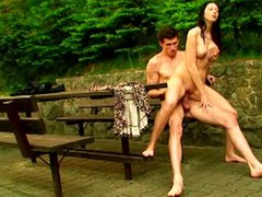 Russian couple hot outdoor sex