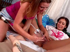 Check out with two young lesbian chicks Lilly Evans and