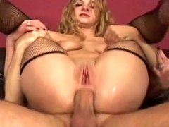 Beautiful horny takes two hard cock.