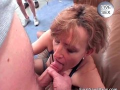 Nasty hot big ass nice brunette MILF slut sucking big cock and gets fucked hard
