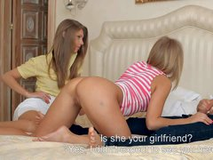 Two golden haired and lusty girls Anjelica and Ella enjoy