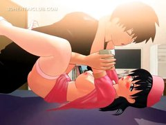 Anime teen getting cunt drilled squirts all over