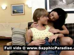 Naughty brunette and blonde lesbos kissing and having lesbo love