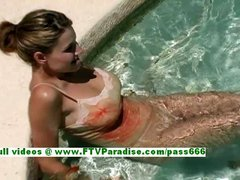 Jamie busty amazing brunette woman getting naked and playing with water