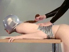 fine strapon lesbians in mask playing