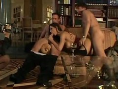 European orgy in the classy home library