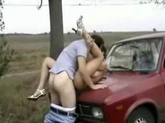 Fucked on hood of car outdoors