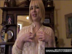 Nasty blonde amateur crossdresser Alice rubs her crotch