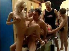 Five men and two sluts in gangbang